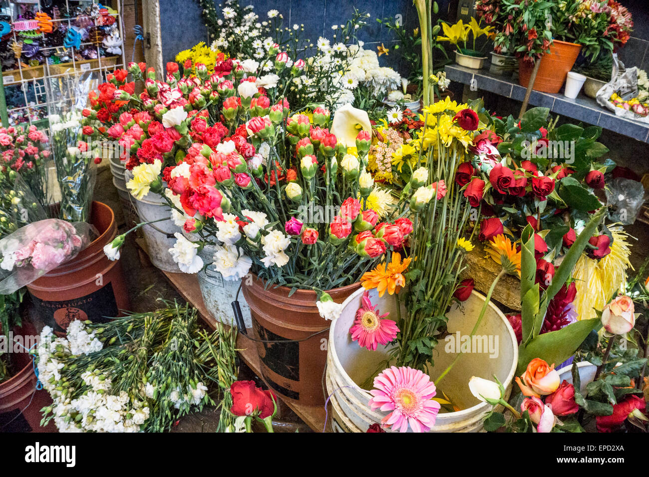 profusion of fresh spring flowers in glorious disarray at florist stall in main market San Cristobal de las Casas - Stock Image
