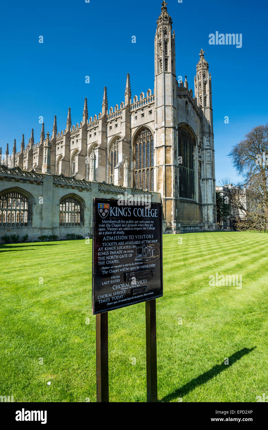 The front of King's College, including the famous chapel. King's is one of the colleges of Cambridge University. Stock Photo