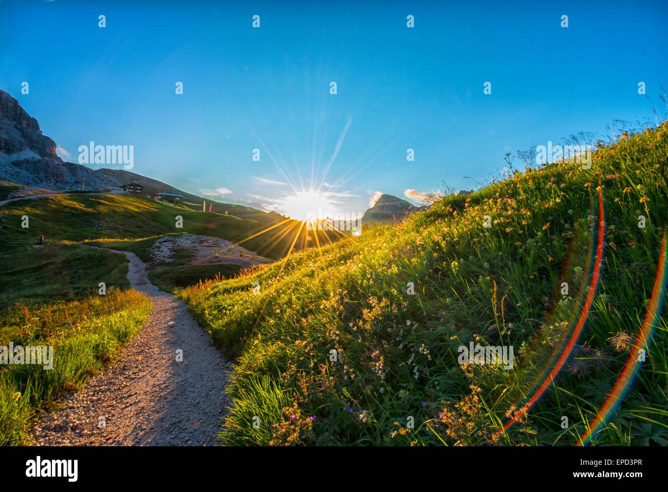 Sunset on Dolomites, trekking path, Cinque Torri area, Dolomites, Italy - Stock Image
