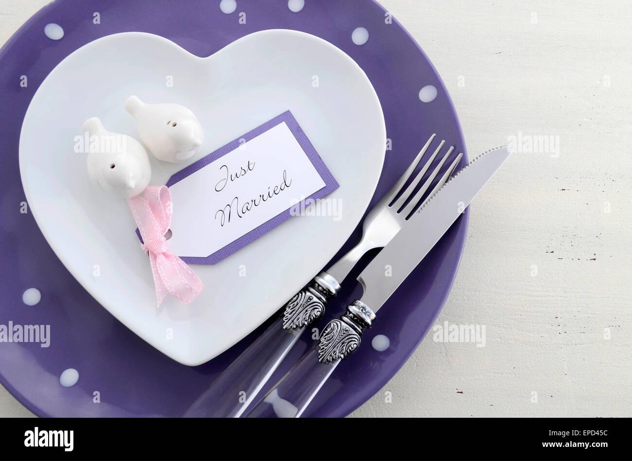 Purple Theme Wedding Table Place Stock Photos Purple Theme Wedding