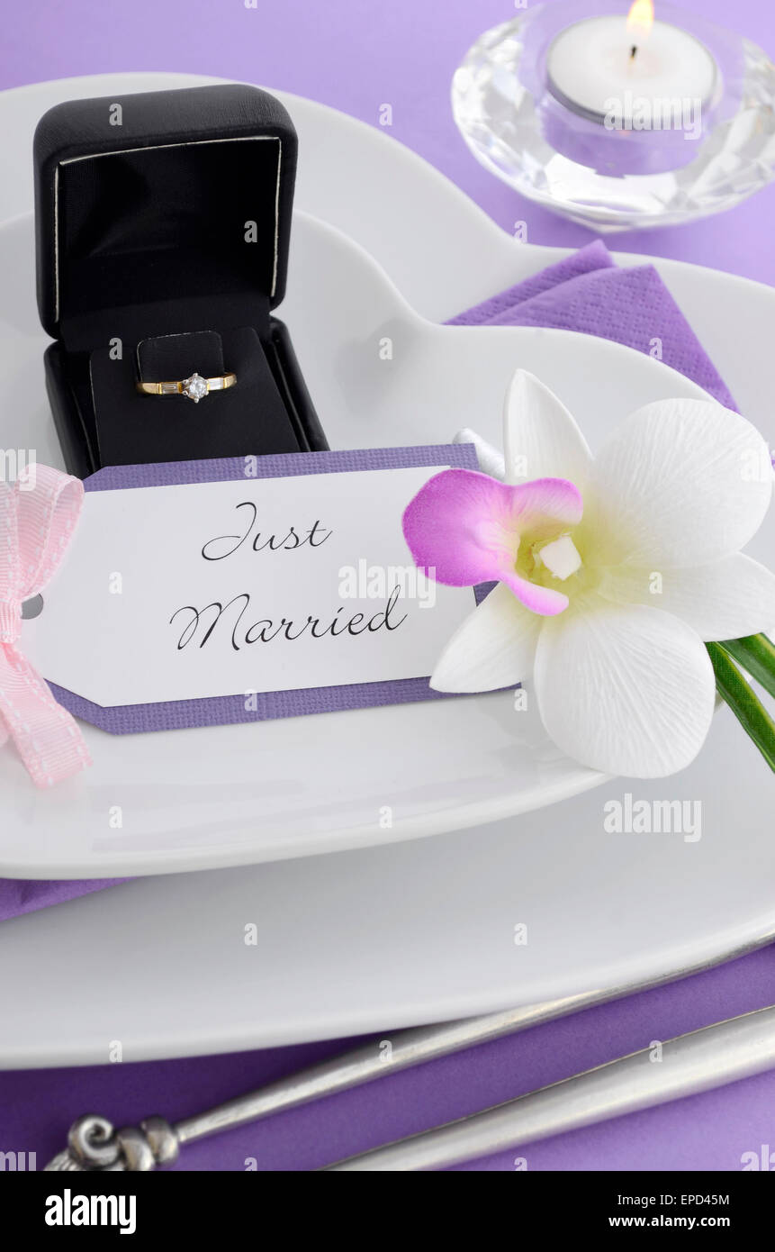 Purple Theme Wedding Table Place Setting With Heart Shape Plates And