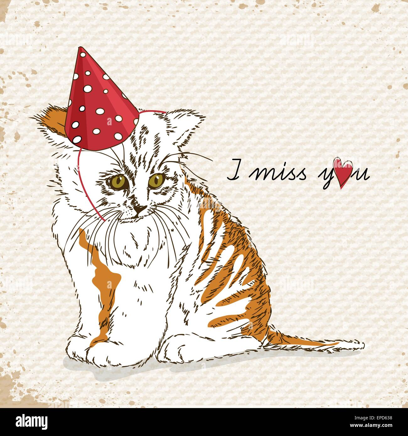poster with sad cat i miss you love letter birthday hat
