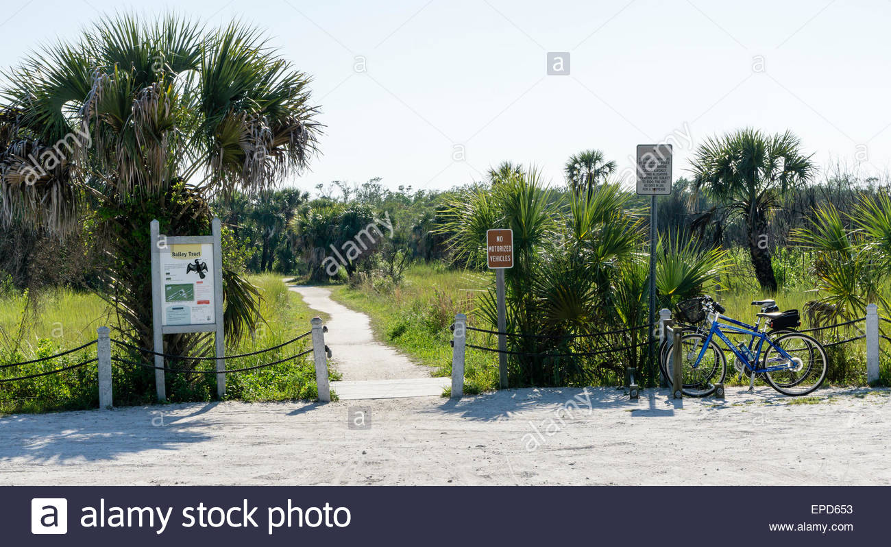 Entrance to the Bailey Tract wildlife refuge on Sanibel Island in Florida - Stock Image