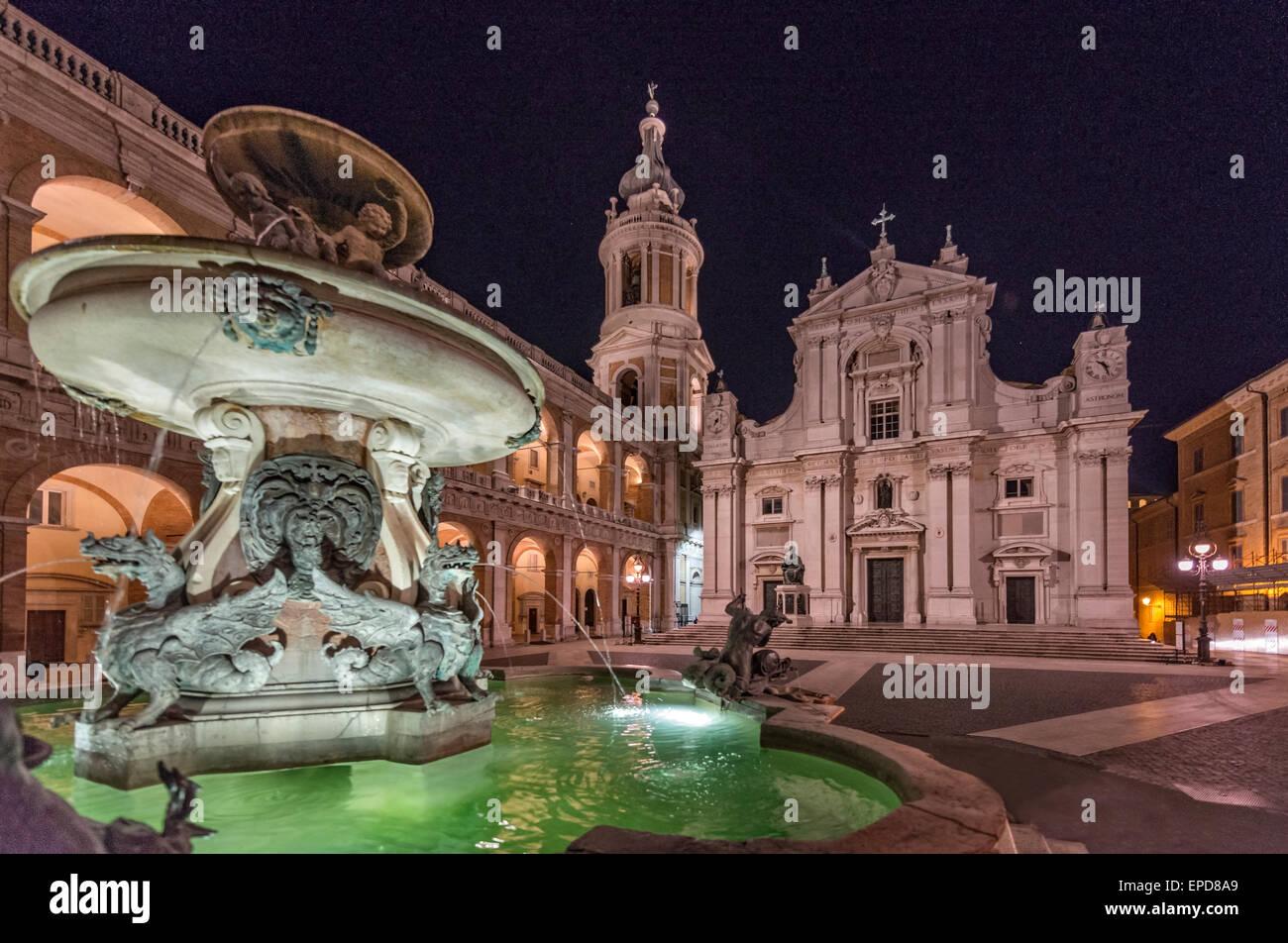 Holy House of Loreto by night, Loreto, Conero, Marche district, Italy - Stock Image