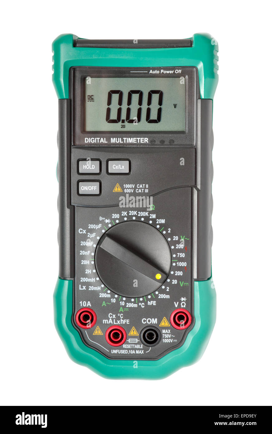 Top view of digital multimeter isolated on white with path - Stock Image