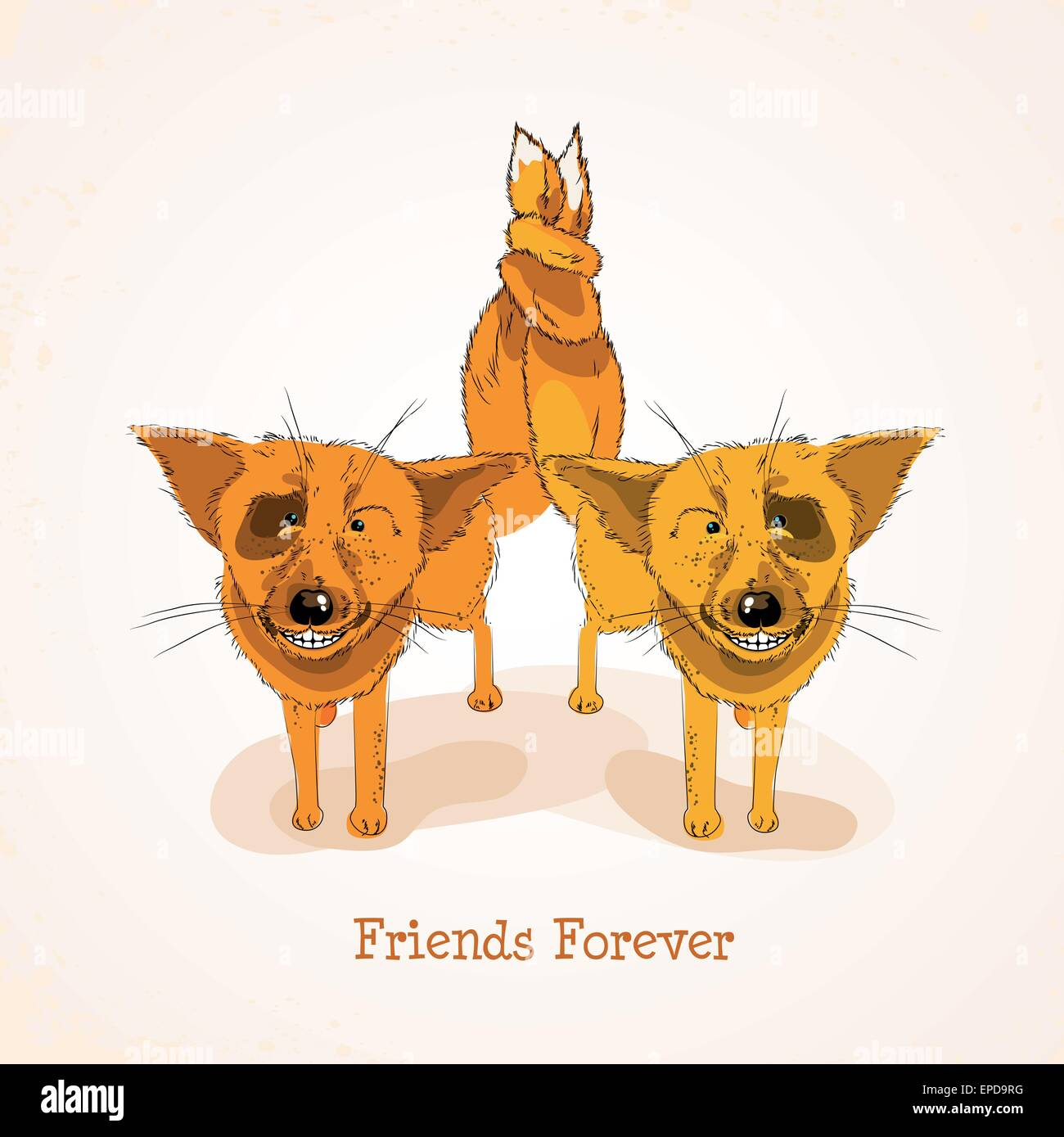 Happy Friendship Day Background With Cute Funny Foxes And Colorful