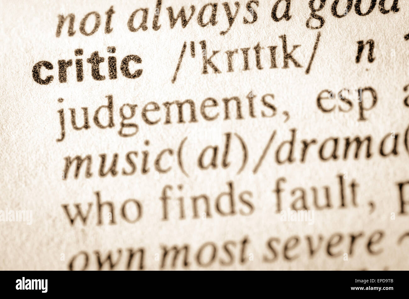 Definition of word critic in dictionary - Stock Image