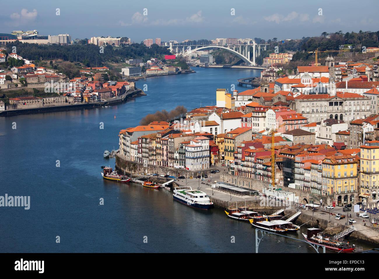 Oporto, Porto, Portugal, historic city centre along river Douro. - Stock Image