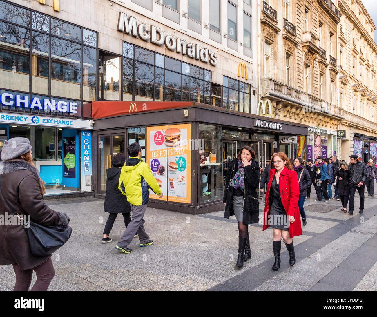 McDonalds fast food hamburger shop exterior, Champs-Elysees, Paris - Stock Image