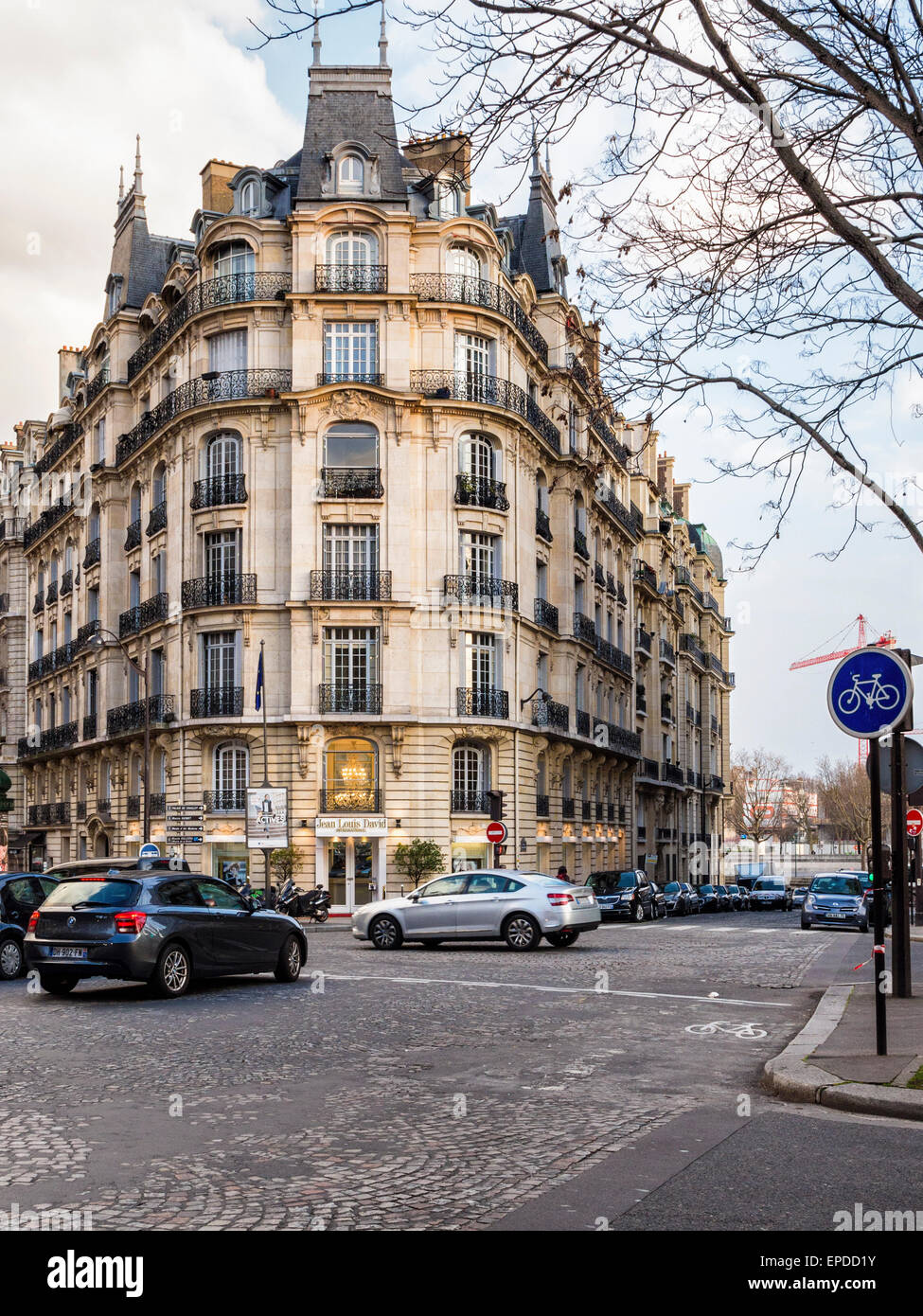 luxury apartments exterior. Luxury Apartment building exterior and Jean Louis David International salon  on street corner Paris