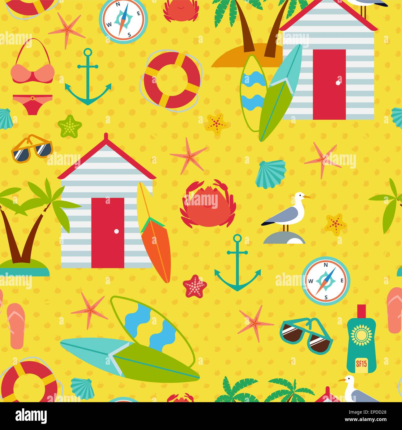 Seamless pattern with flat travel icons - Stock Image