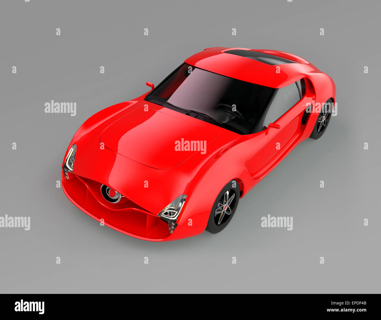 Red sports car isolated on gray background with clipping path. Original design. - Stock Image
