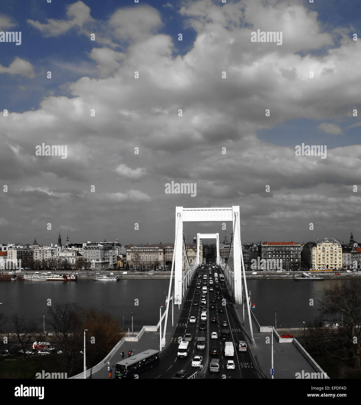 City of Budapest. Bridge over the Danube. Half desaturated. - Stock Image
