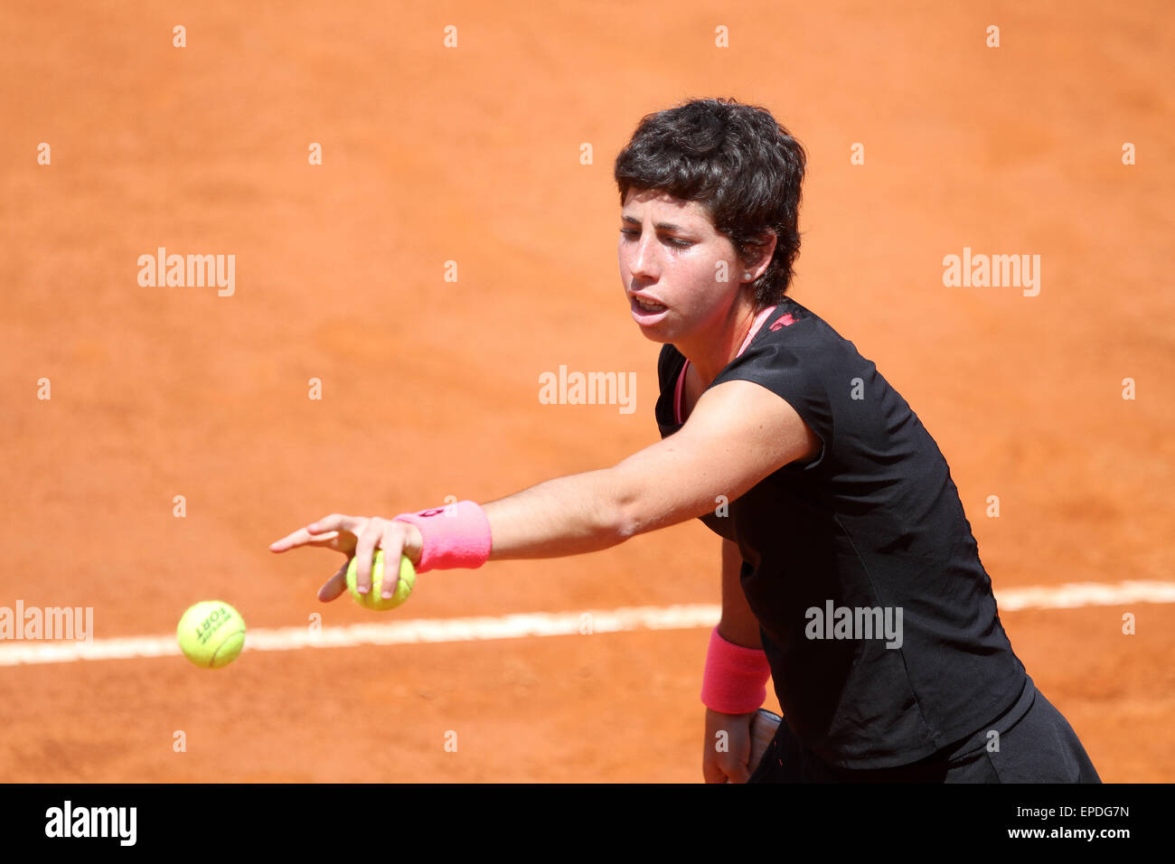 Rome, Italy. 17th May, 2015. Carla Suarez Navarro of Spain eyes the ball during the singles final match against - Stock Image