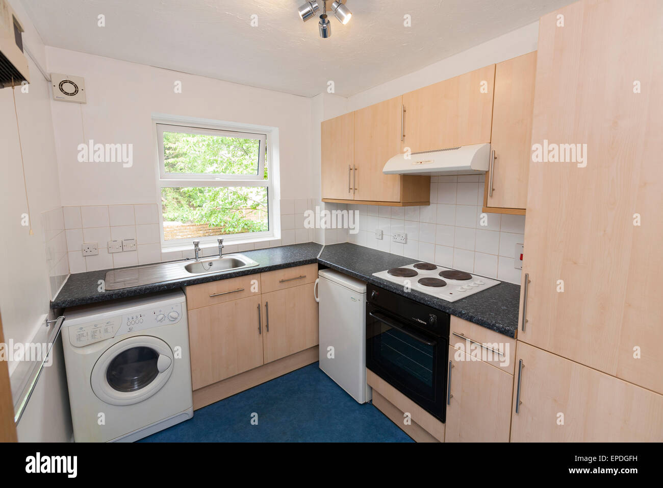 Freshly decorated kitchen of one bedroom flat in neutral colours. Buy to Let property  apartment photographed during - Stock Image