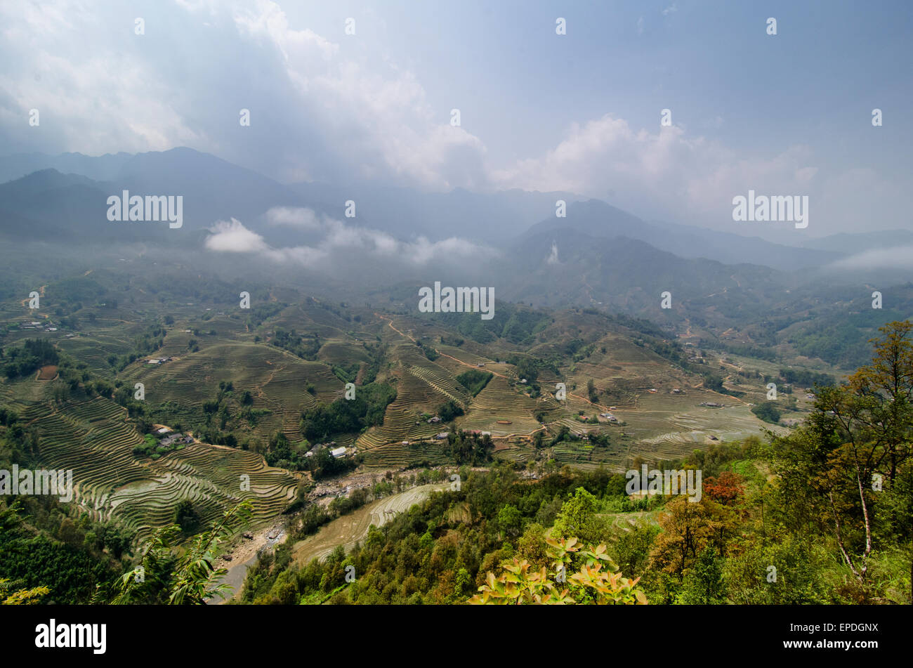 A valley view near Sapa, Vietnam - Stock Image