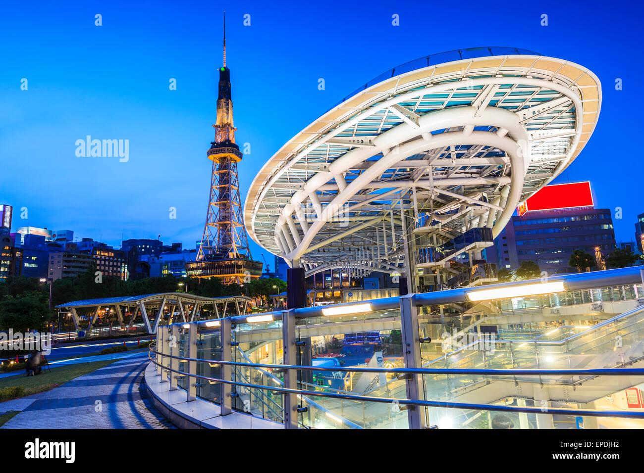Nagoya cityscape at night in Japan Stock Photo