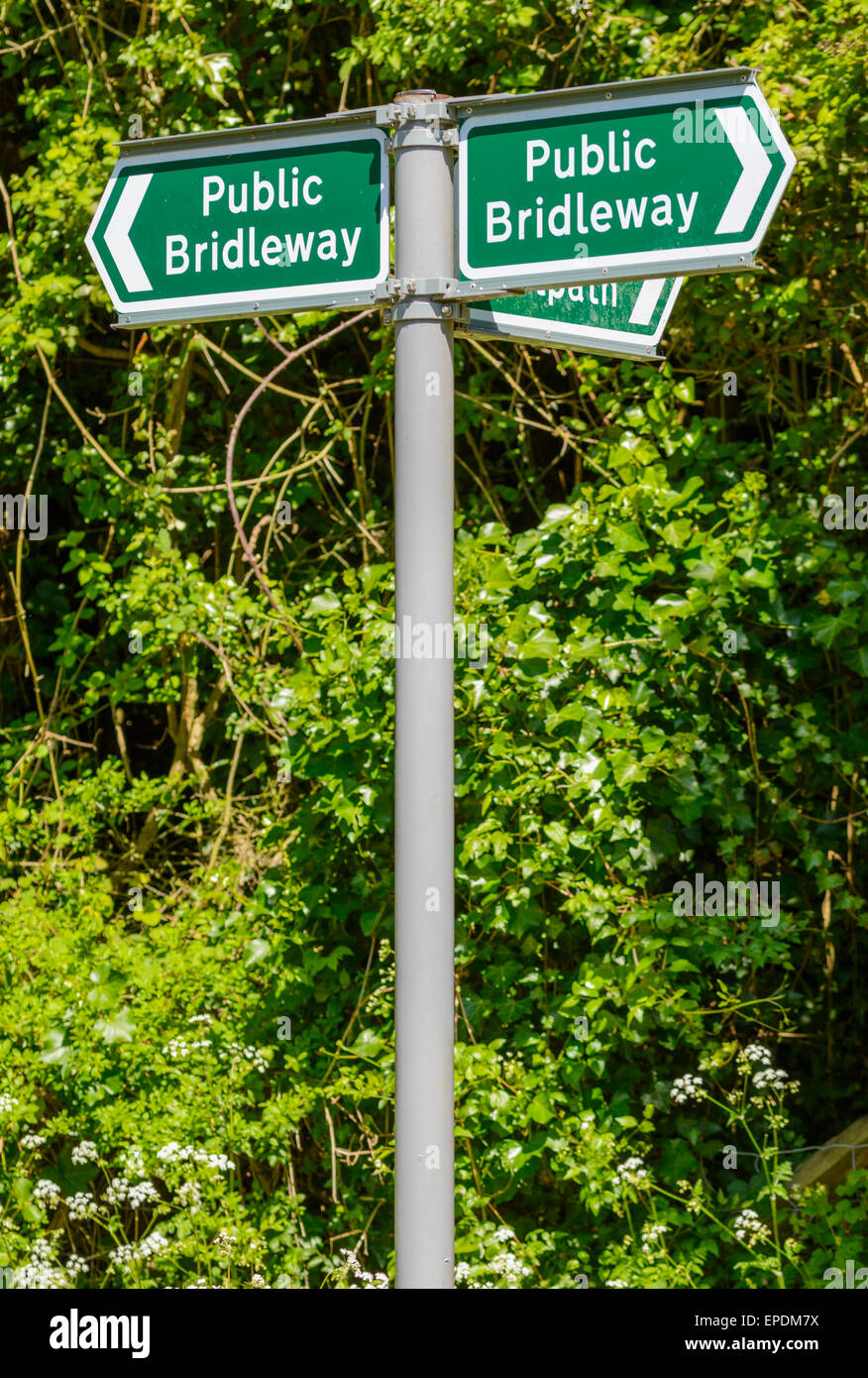 Public Bridleway finger post sign in the UK. - Stock Image
