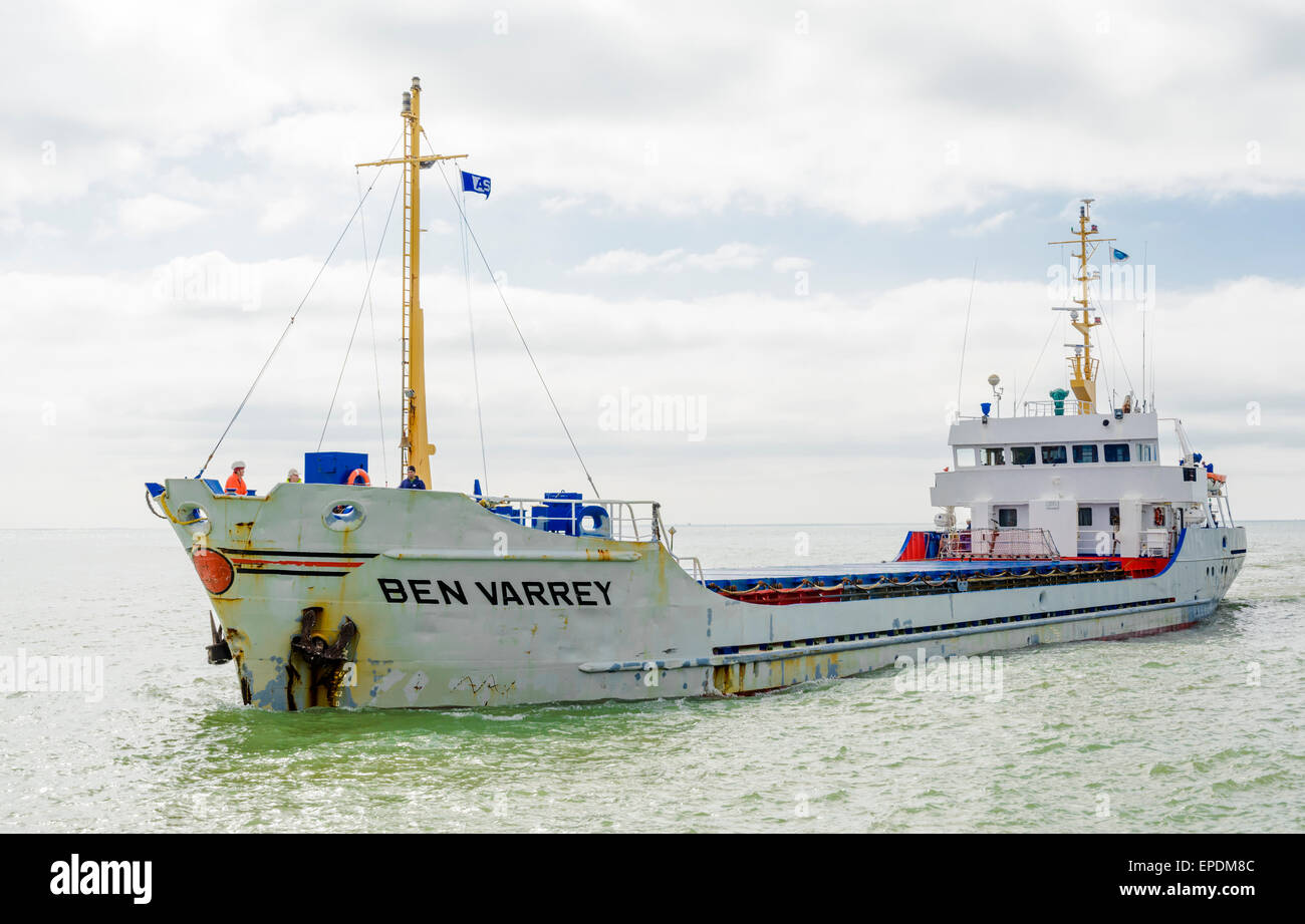 Cargo ship Ben Varrey at sea in the English Channel. - Stock Image