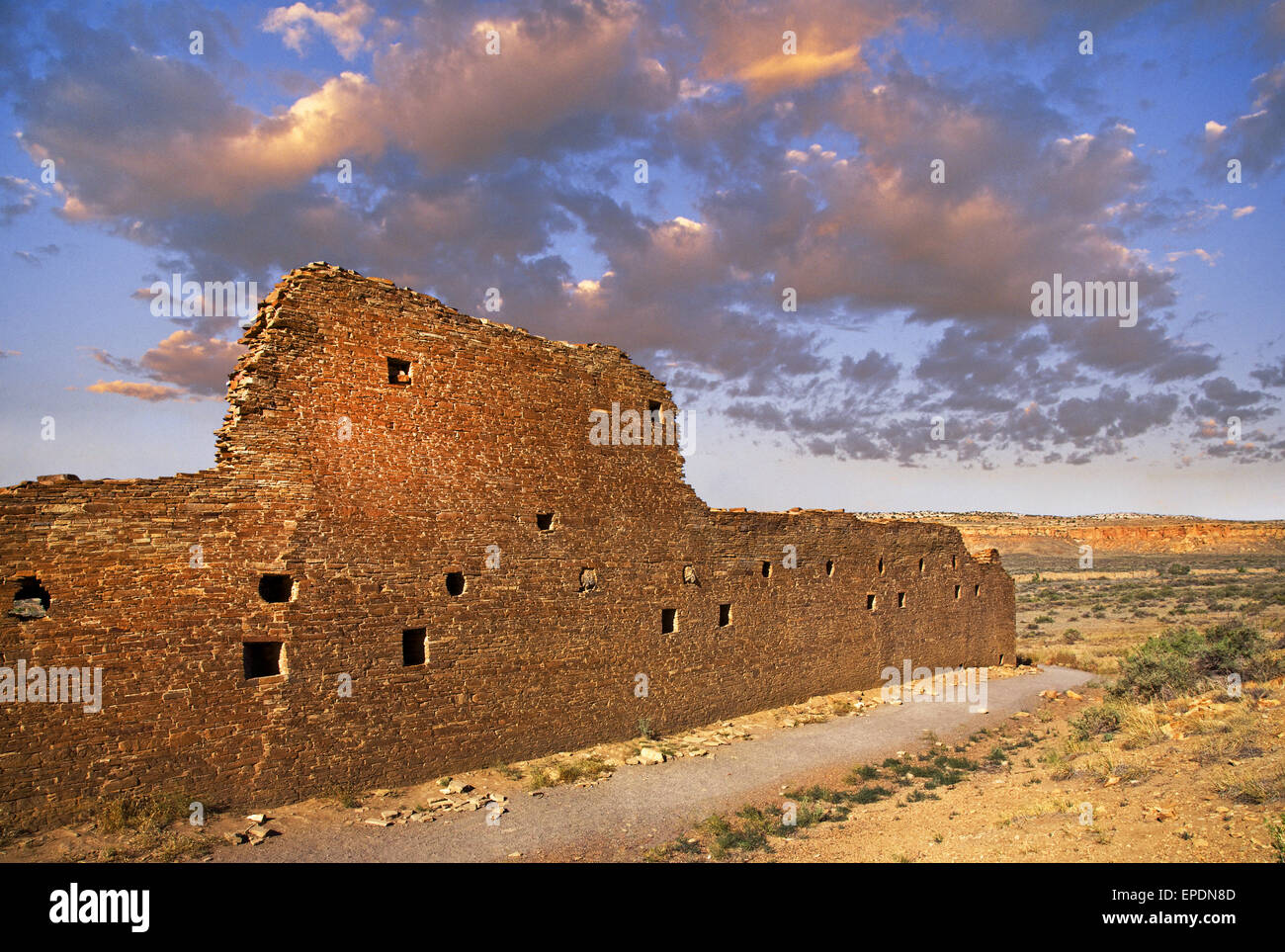 The Anasazi 'Great House' at Hungo Pavi, in Chaco Culture National Historical Park, in northwestern New - Stock Image
