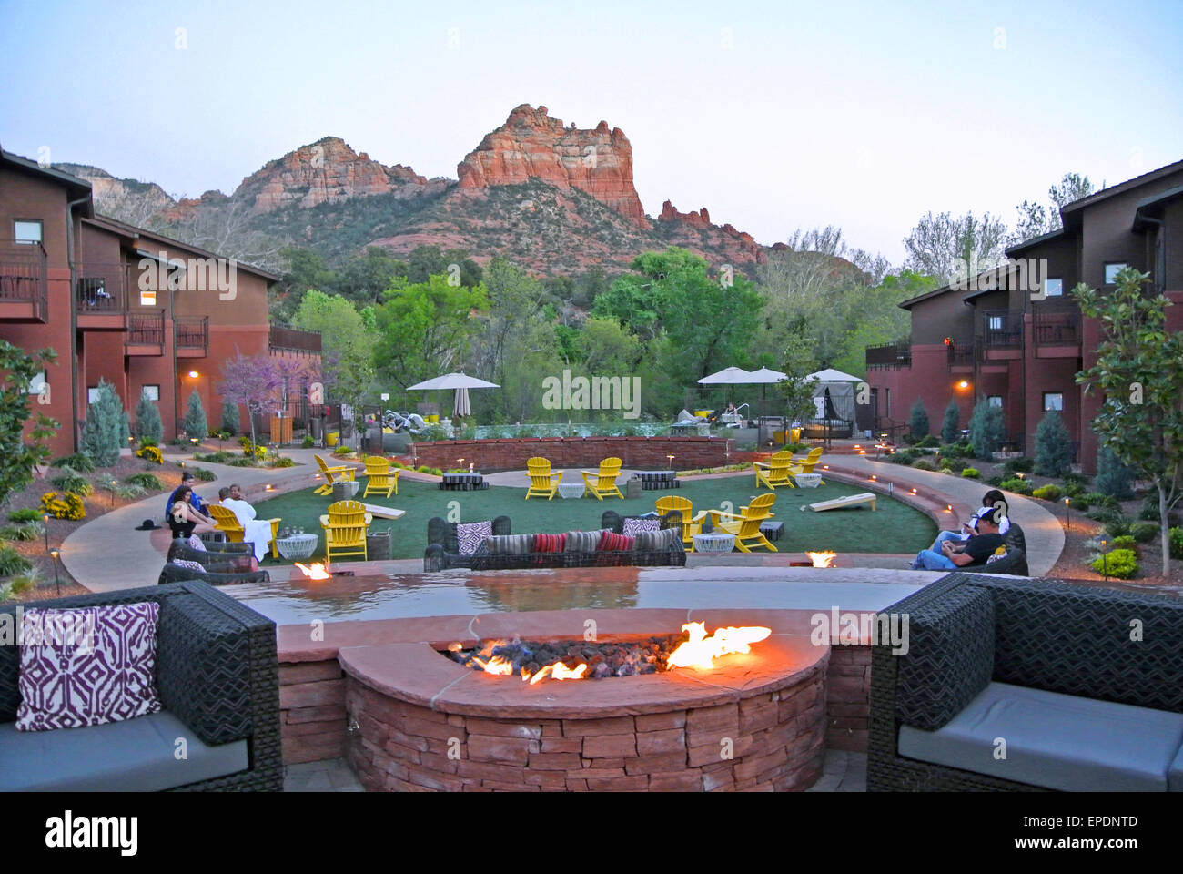 hotel guests relax at one of many luxury resorts in sedona arizona - Stock Image
