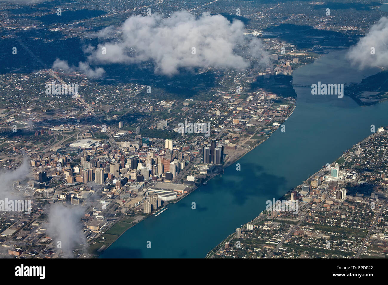 Aerial view Detroit, Michigan with the Detroit River. - Stock Image