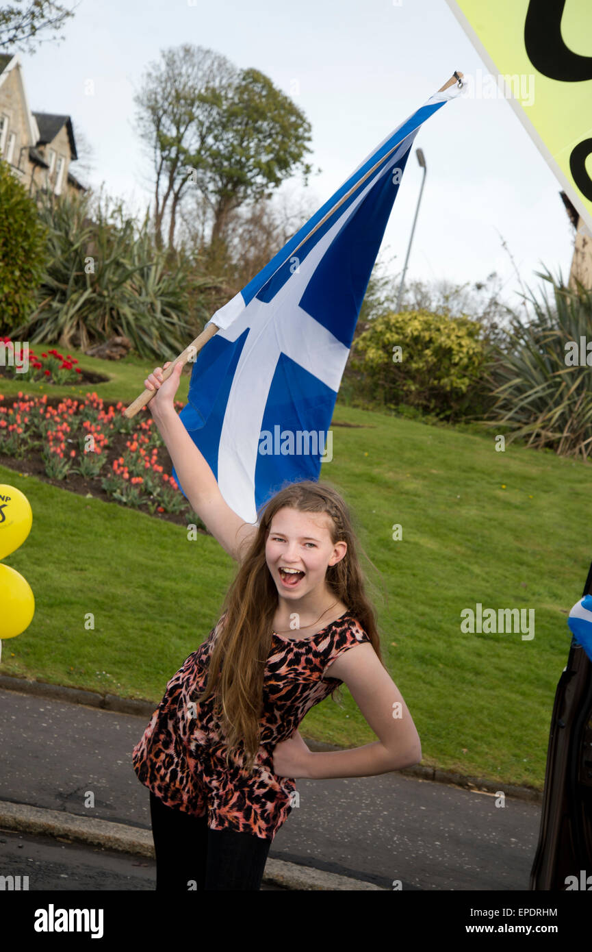 General election 2015. West Kilbride, Scotland. Eve of election calvacade around the town by the SNP (Scottish National - Stock Image