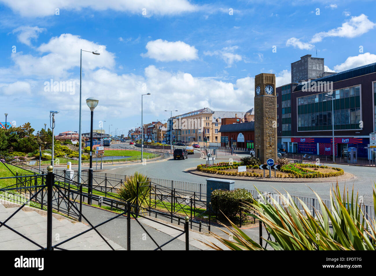 View down East Parade in the town centre, Rhyl, Denbighshire, Wales, UK - Stock Image