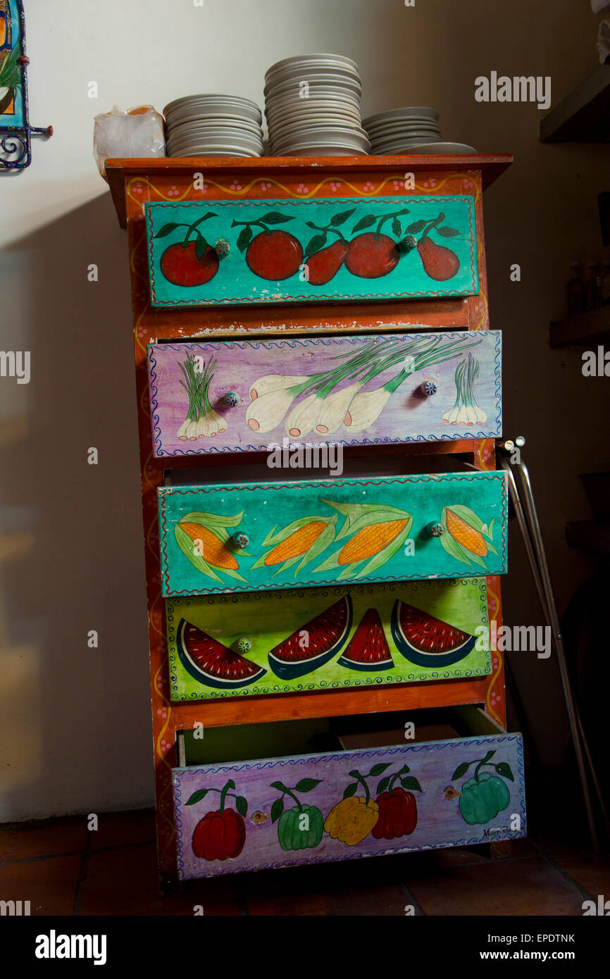 Chest or drawers, Tlaquepaque; Guadalajara; Jalisco; Mexico; mexican; food; art; craft - Stock Image
