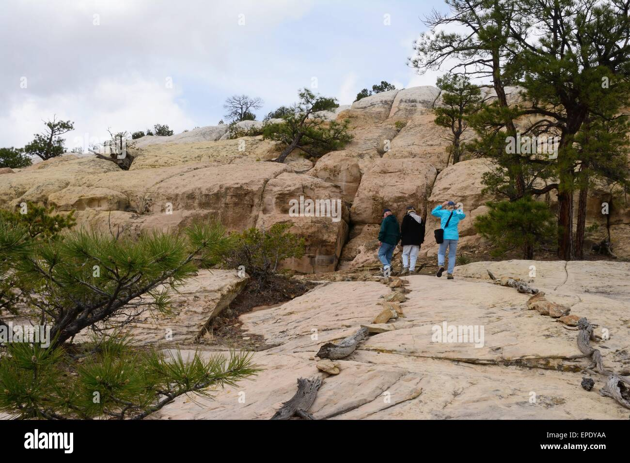 Three Seniors hiking sandstone trail at El Morro National Monument New Mexico - USA - Stock Image