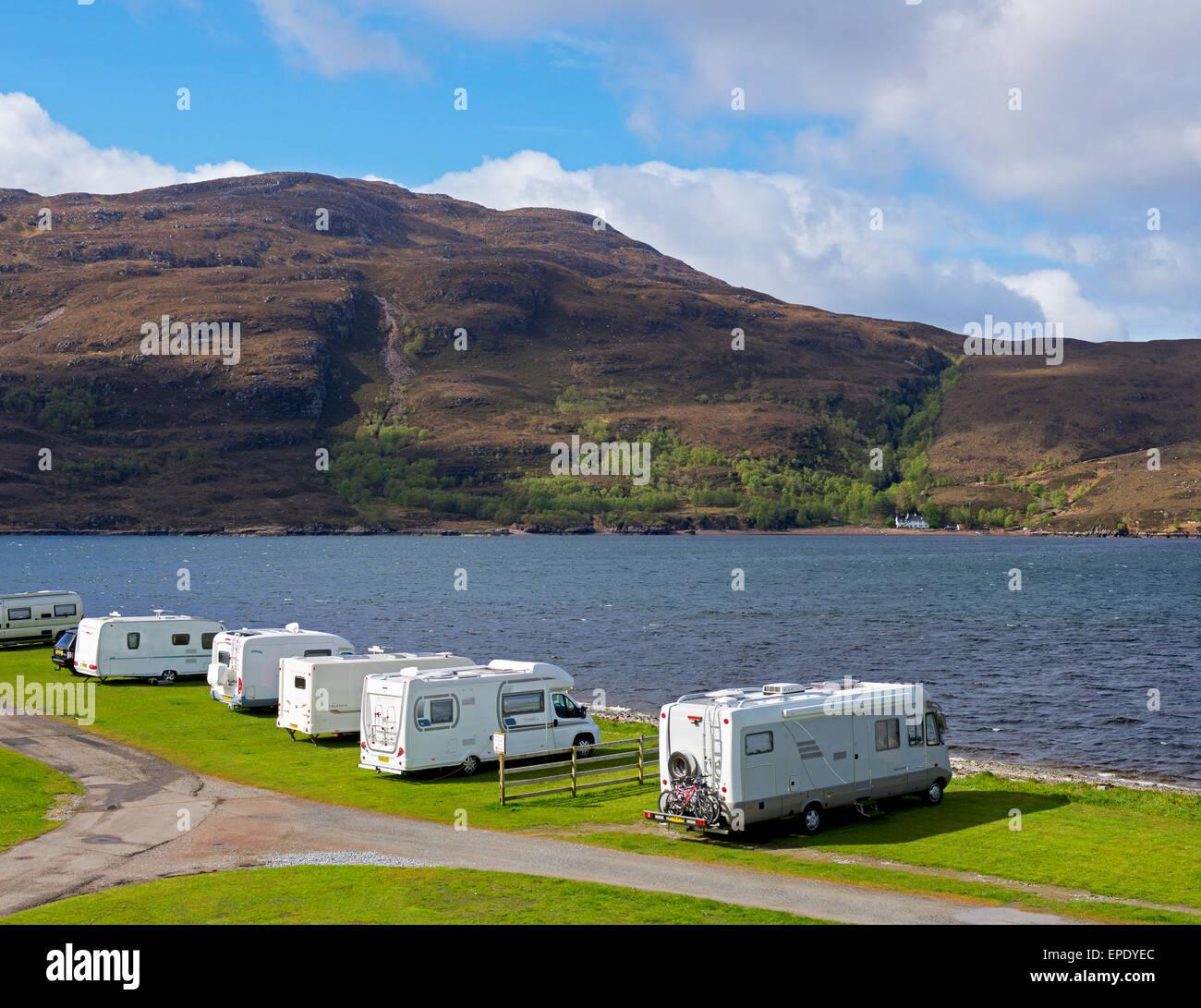 Broomfield Campsite, Ullapool, Ross-shire, Scottish Highlands, Scotland UK - Stock Image