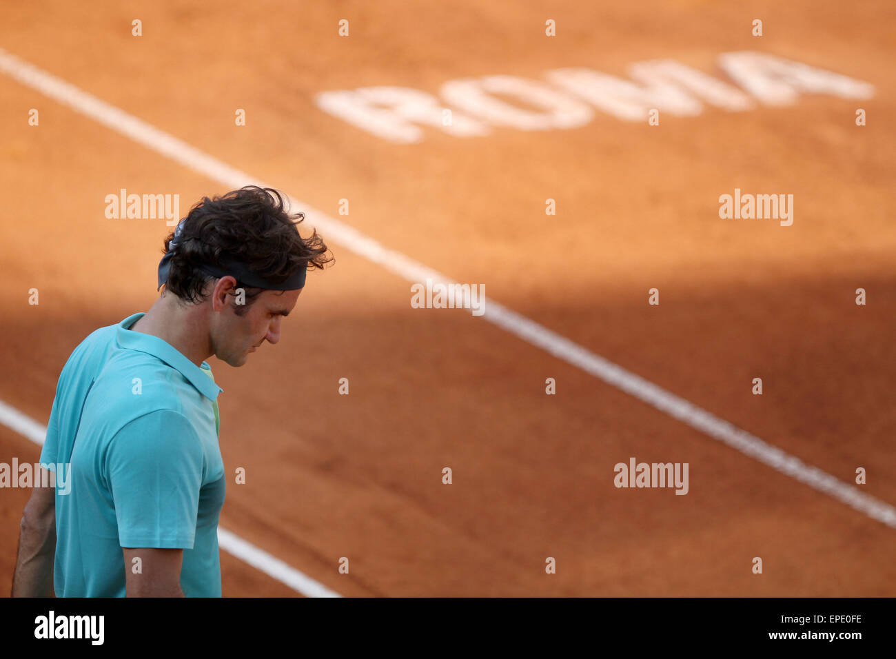Rome, Italy. 17th May, 2015. Swiss Roger Federer reacts during the singles final match  against Novak Djokovic of - Stock Image