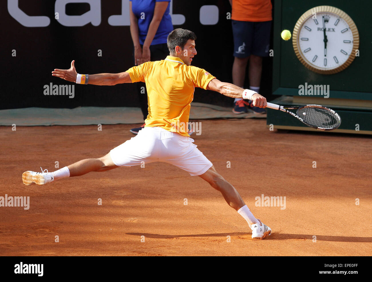 Rome, Italy. 17th May, 2015. Novak Djokovic of Serbia during the singles final match against Swiss Roger Federer - Stock Image