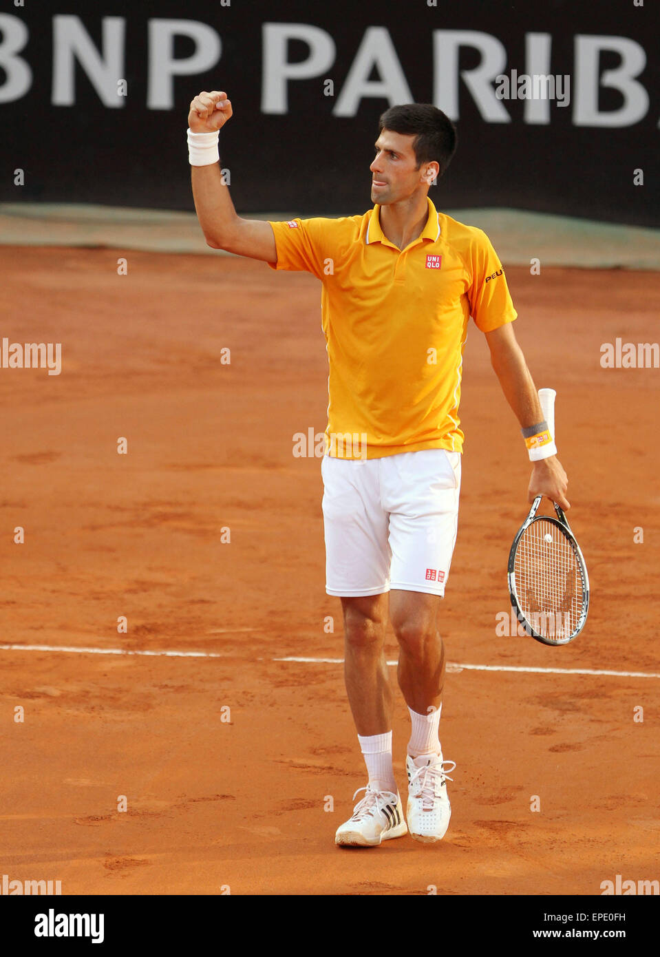 Rome, Italy. 17th May, 2015. Novak Djokovic of Serbia  celebrates winner during the singles final match  against - Stock Image