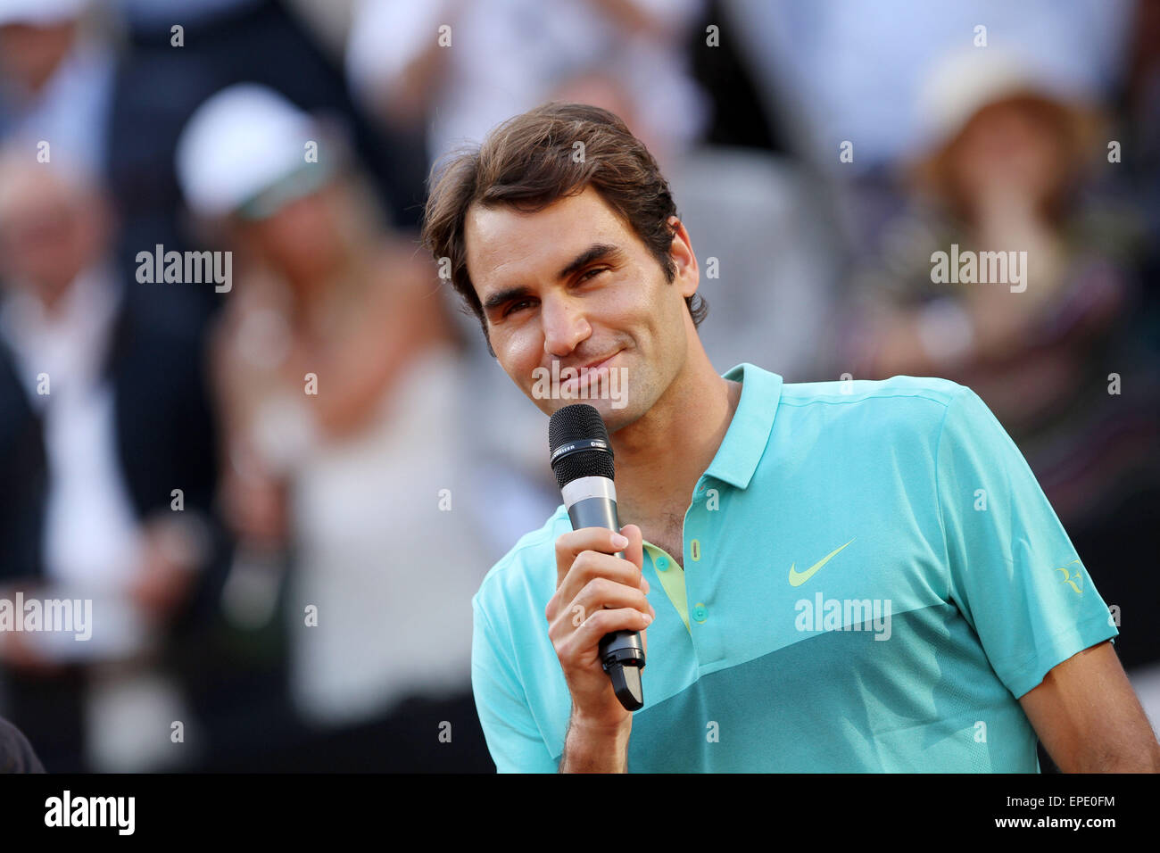 Rome, Italy. 17th May, 2015. Swiss Roger Federer during the singles final match against Novak Djokovic of Serbia - Stock Image