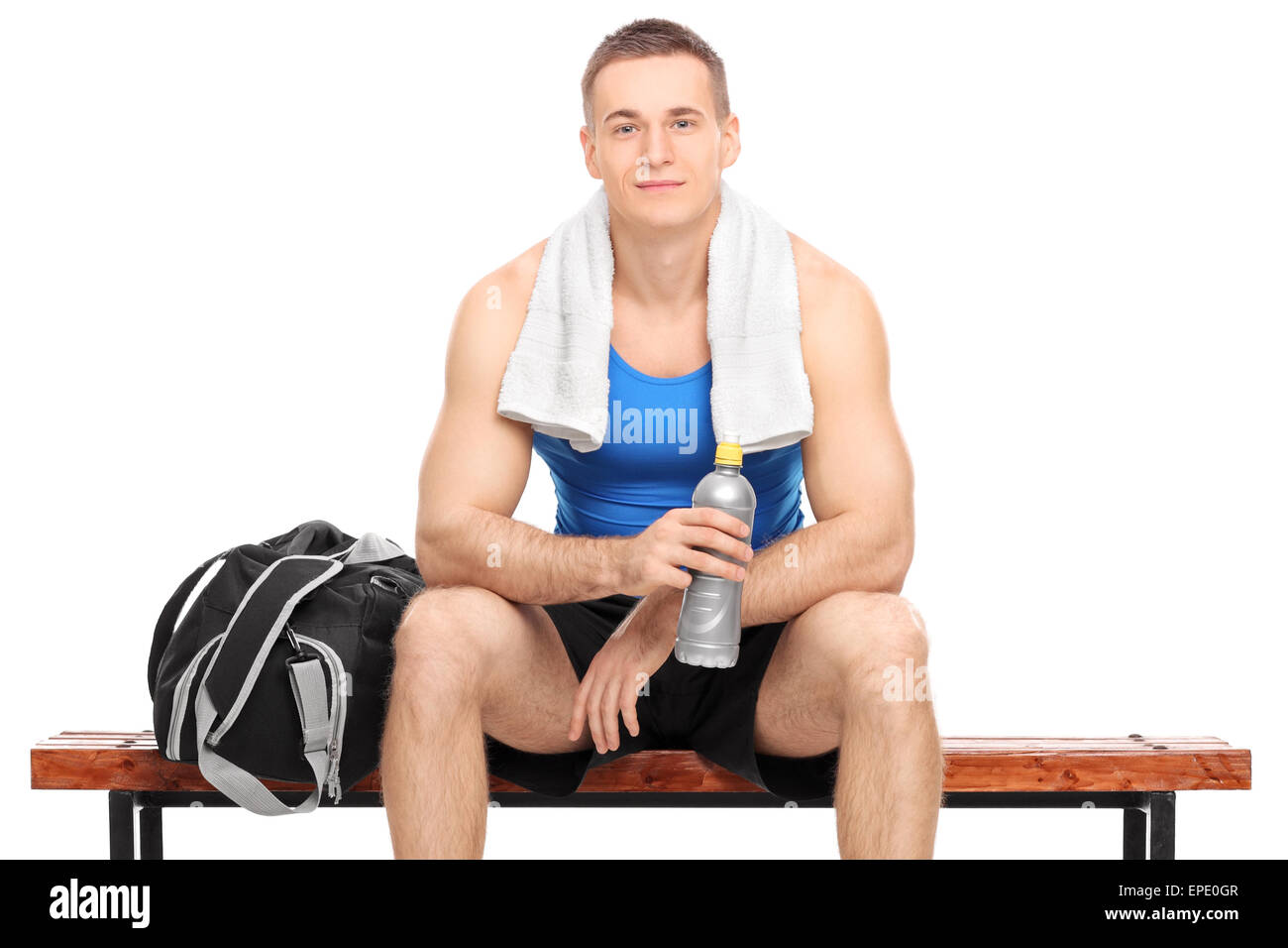 Super Young Muscular Athlete Sitting On A Wooden Bench With A Beatyapartments Chair Design Images Beatyapartmentscom
