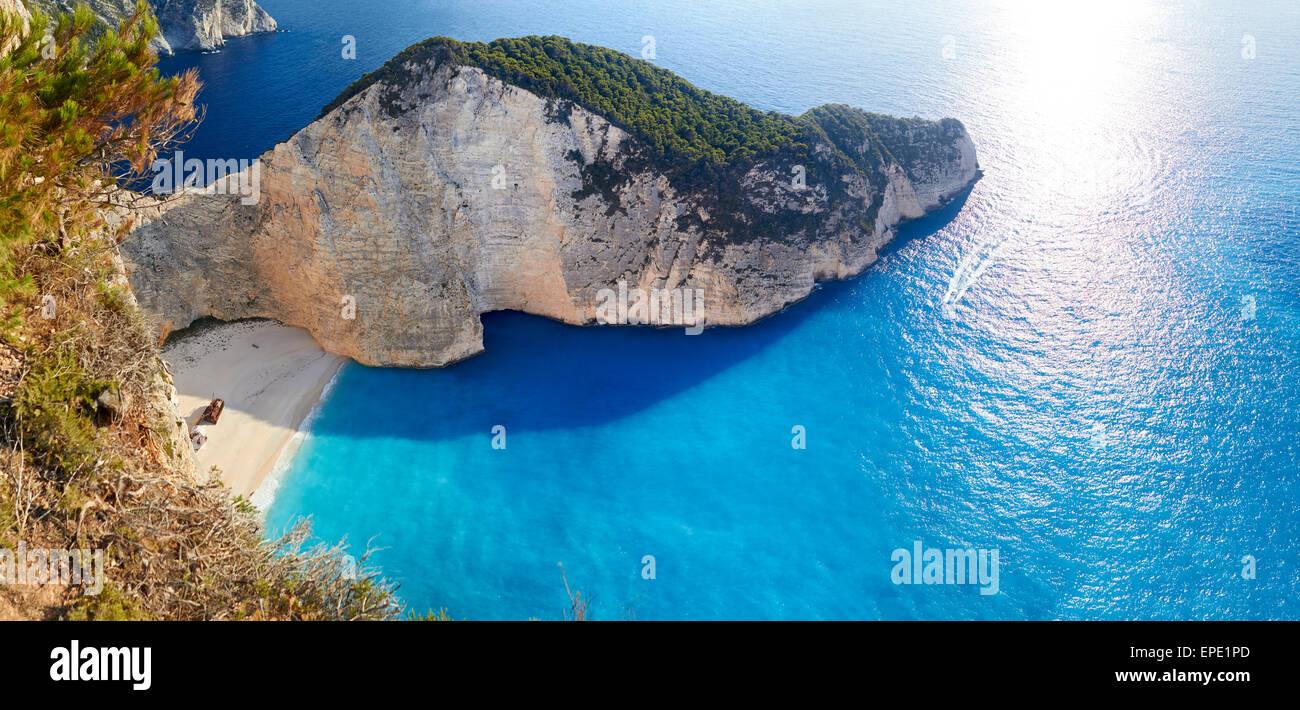 Broken ship at Shipwrech bay . Navagio beach, Zakinthos, Greece Stock Photo