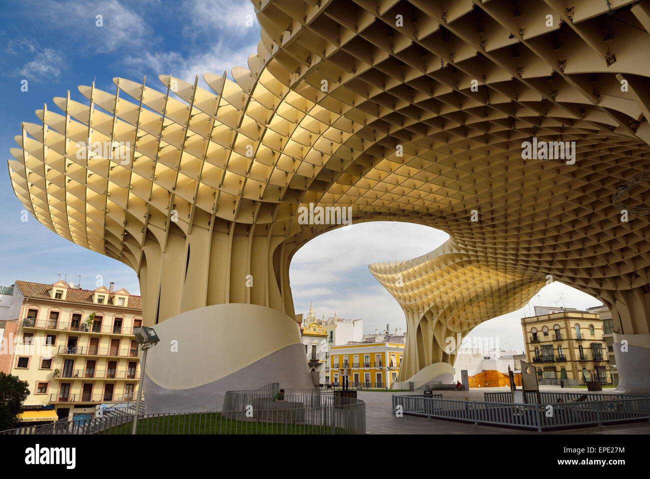 Mushroom canopy modern architecture of Metropol Parasol at Plaza of the Incarnation Seville Spain - Stock Image