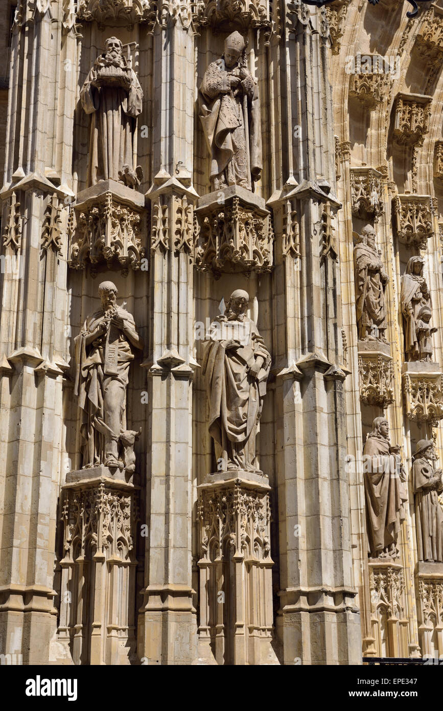 Detail of Main door of the Assumption of Saint Mary of the See cathedral Seville Spain - Stock Image