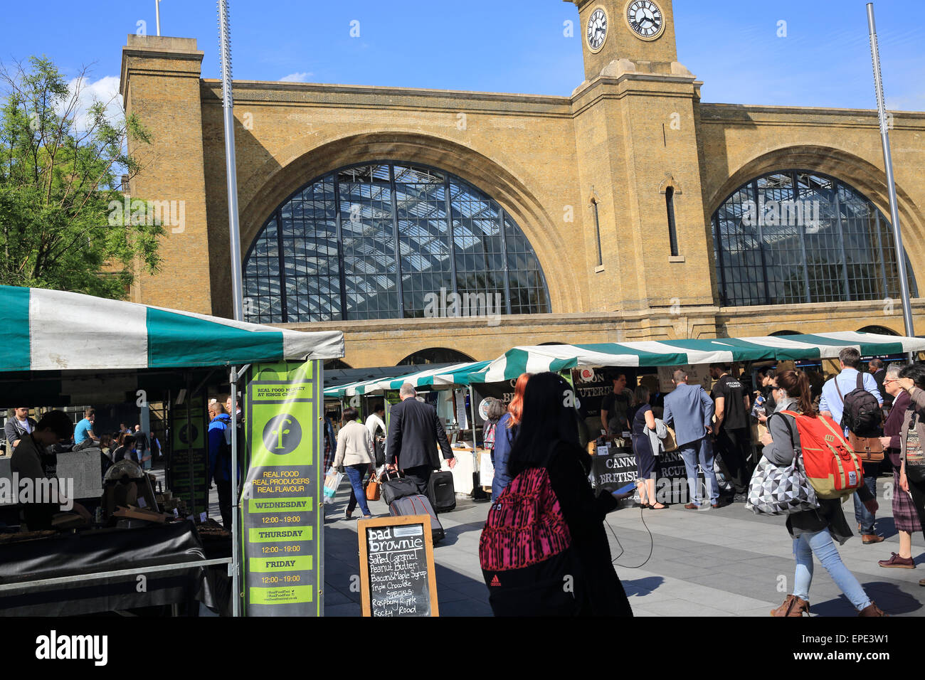 The Real Food Market on Kings Cross Square in front of the train station, on Euston Road, north London, England, - Stock Image