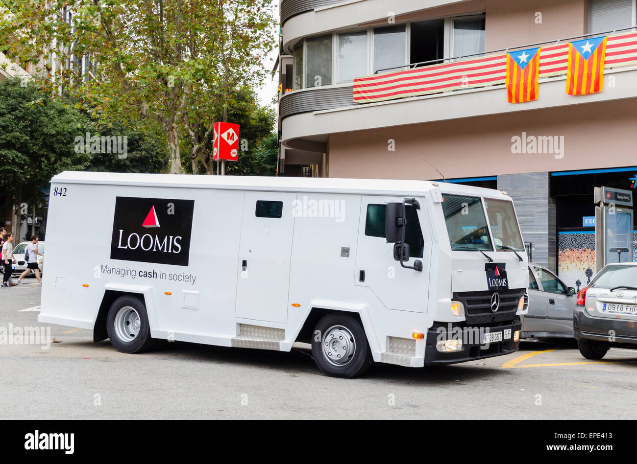 Loomis armoured truck used to carry money in Barcelona, Spain Stock ...