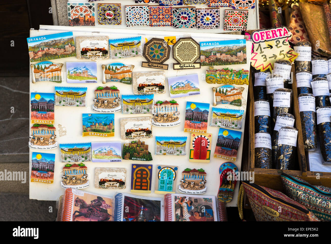 Colourful Fridge Magnet Tourist Souvenirs Of Granada On Display Outside Epe K