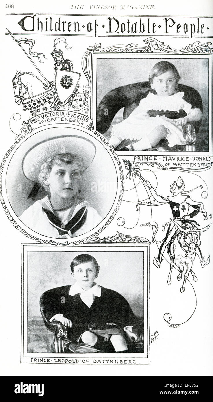 The children pictured here are: Prince Maurice Donald of Battenberg (1891-1914) was the youngest grandchild of Queen - Stock Image