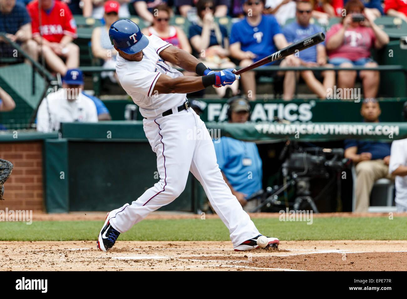 Arlington, Texas, USA. 17th May, 2015. Texas Rangers third baseman Adrian Beltre (29) fouls a ball off of his left - Stock Image