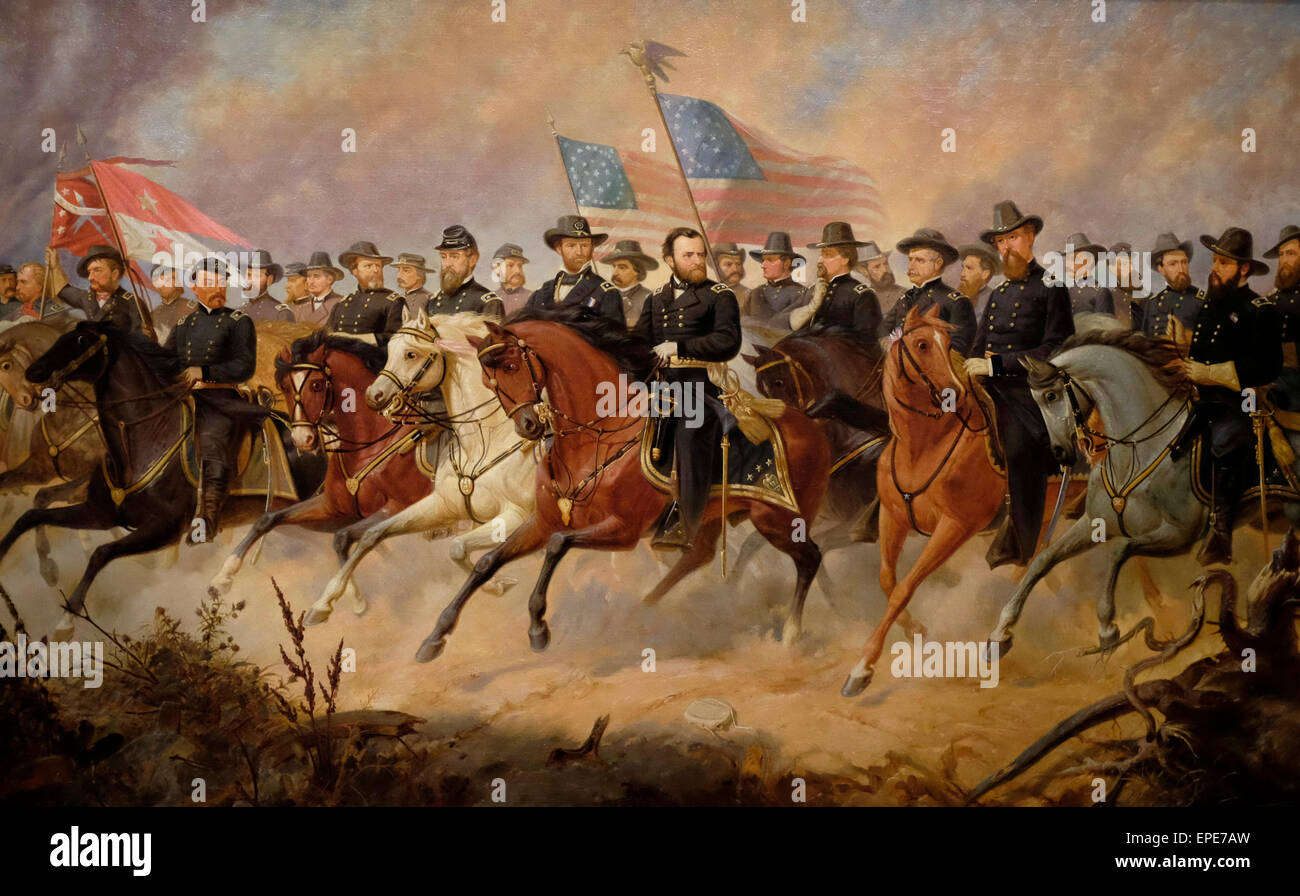 Ulysses Grant and his Generals at the end of the USA Civil War   Ole Peter Hansen Bolling - Stock Image