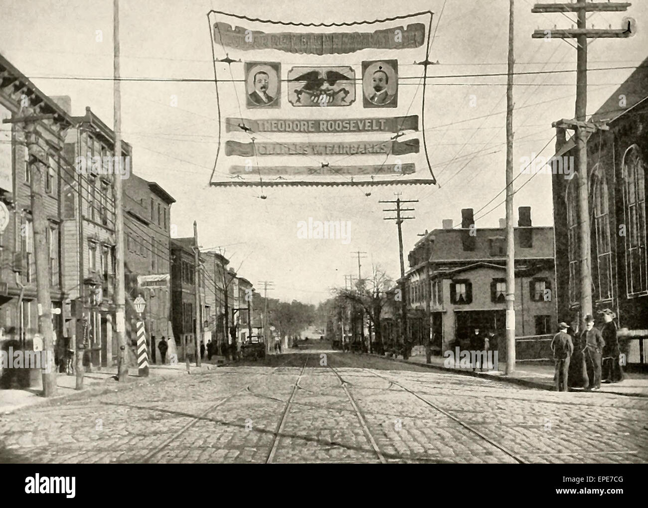 Albany Street, From George Street, looking North. New Brunswick, NJ, circa 1904. Theodore Roosevelt and Charles - Stock Image