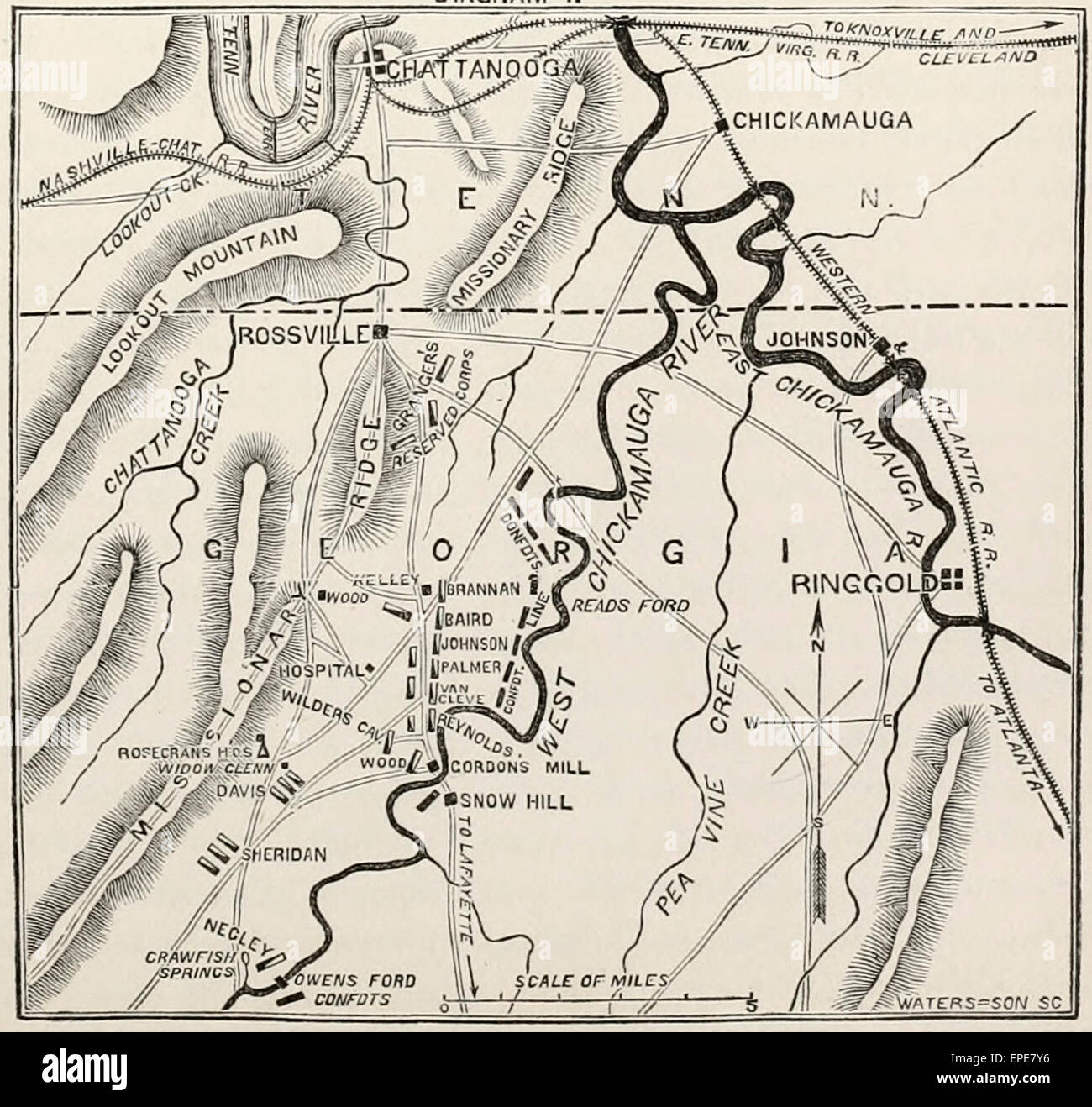 Diagram showing the positions of the Armies at the Battle of Chickamauga - USA Civil War 1863 - Stock Image
