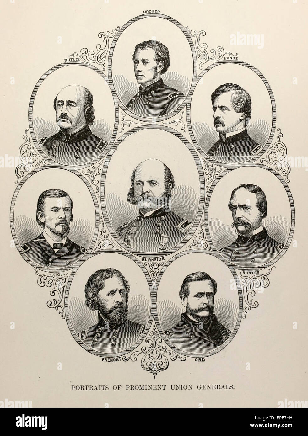 Portraits of Prominent Union Generals during the USA Civil War - Fremont, Ord, Burnside, Hunter, Sigel, Butler, - Stock Image