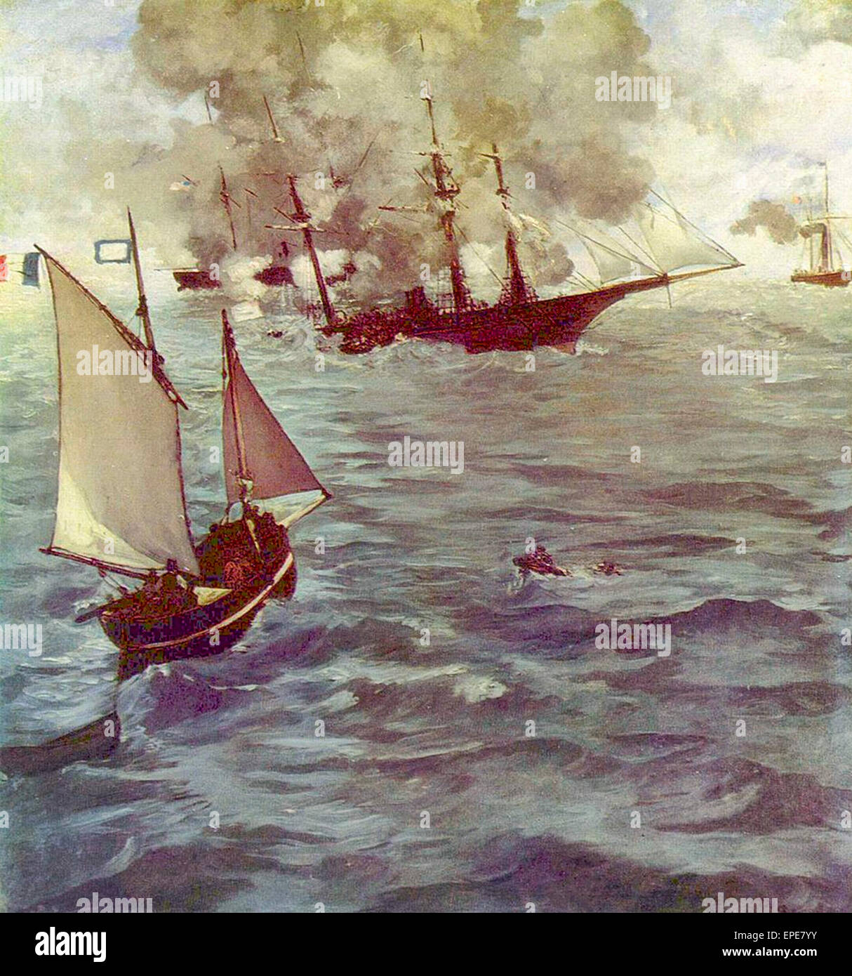 The Battle of the Kearsarge and the Alabama, 1864  Édouard Manet. - Stock Image