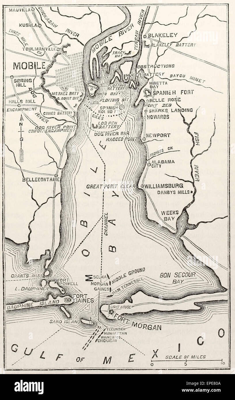 Map showing the City of Mobile, Alabama and its defences in the USA ...